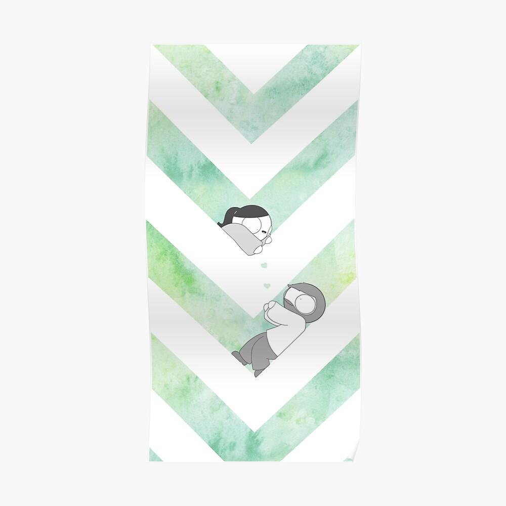 Aquarell Grafik - Grün Poster