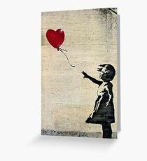 Tarjeta de felicitación La chica de Banksy con un globo rojo III