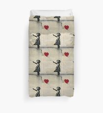 Banksy's Girl with a Red Balloon III Duvet Cover