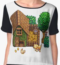 Retro Pixel Farm House Women's Chiffon Top