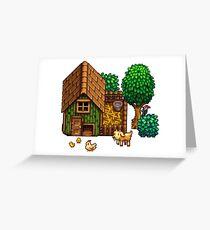 Retro Pixel Farm House Greeting Card