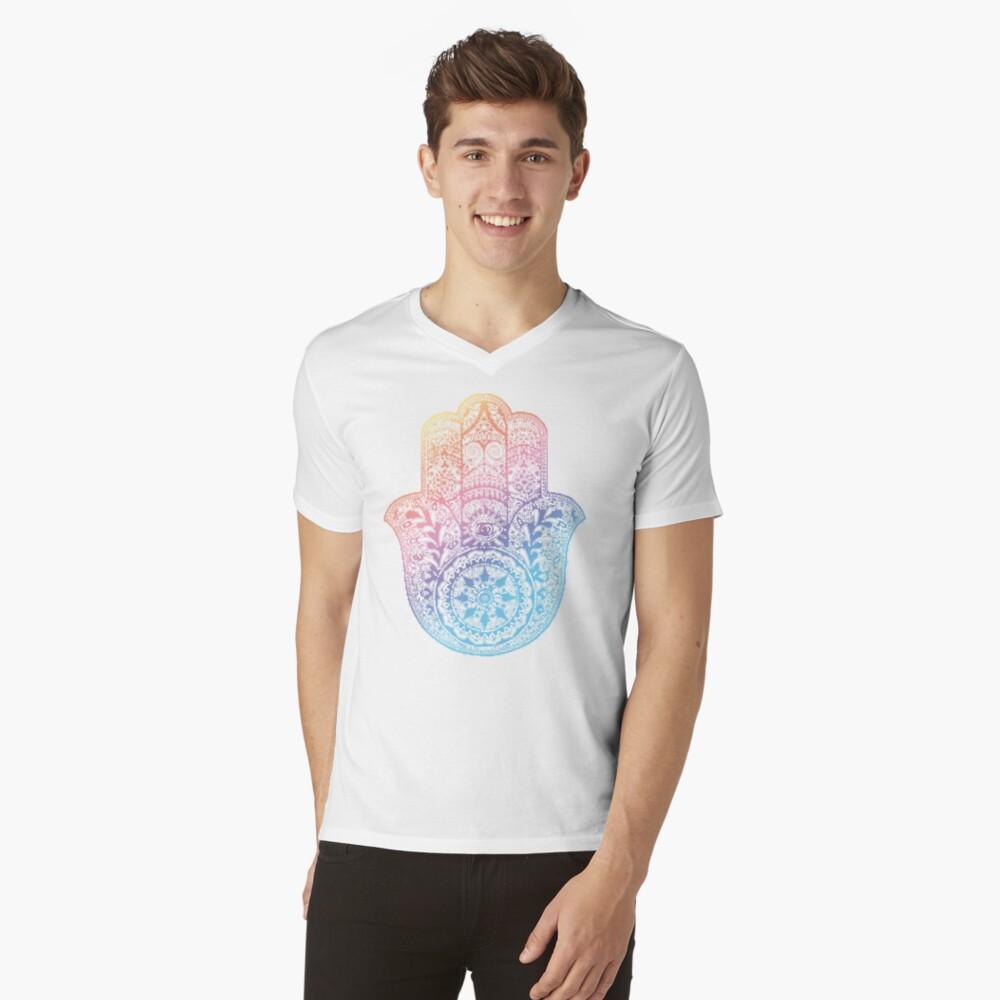 Regenbogen Hamsa T-Shirt mit V-Ausschnitt