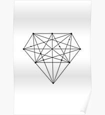 Monochrome Geometric Diamond Poster