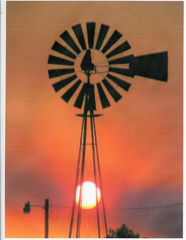 Sunset Behind Windmill by hellion