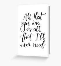 Ed Sheeran Lyrics Greeting Card