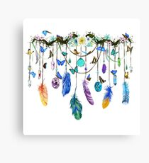 Folkestone Feather, Crystal And Butterfly Spirit Gazer Canvas Print
