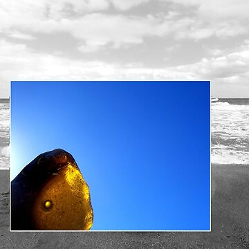 Brown Sea Glass Blue Sky Beach Background by TerryArts