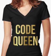 CODE QUEEN - Programming - HaxByte Women's Fitted V-Neck T-Shirt