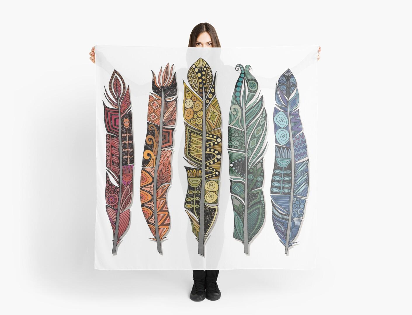 boho rainbow feathers by Sharon Turner