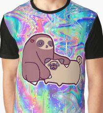 Sloth and Pug Rainbow Holographic  Graphic T-Shirt