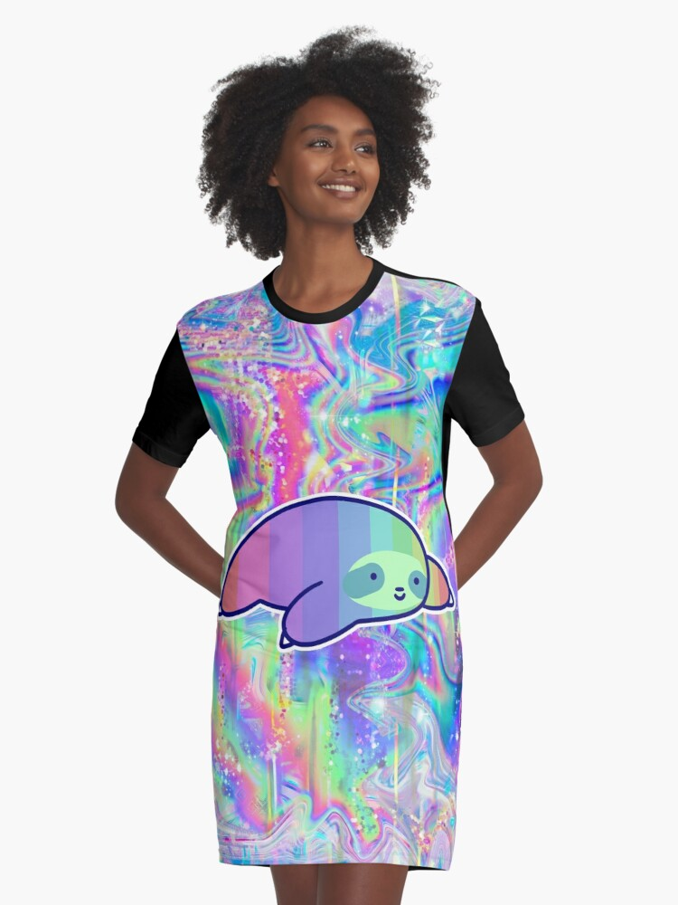 5056885535 Colorful Pastel Sloth Rainbow Holographic