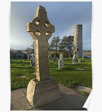 Celtic cross at Clonmacnoise Poster