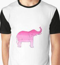 Light Pink Gradient Elephant Design Graphic T-Shirt