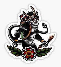 Traditional Krampus Tattoo Piece Sticker