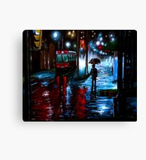 Night City Rain - 3 Canvas Print