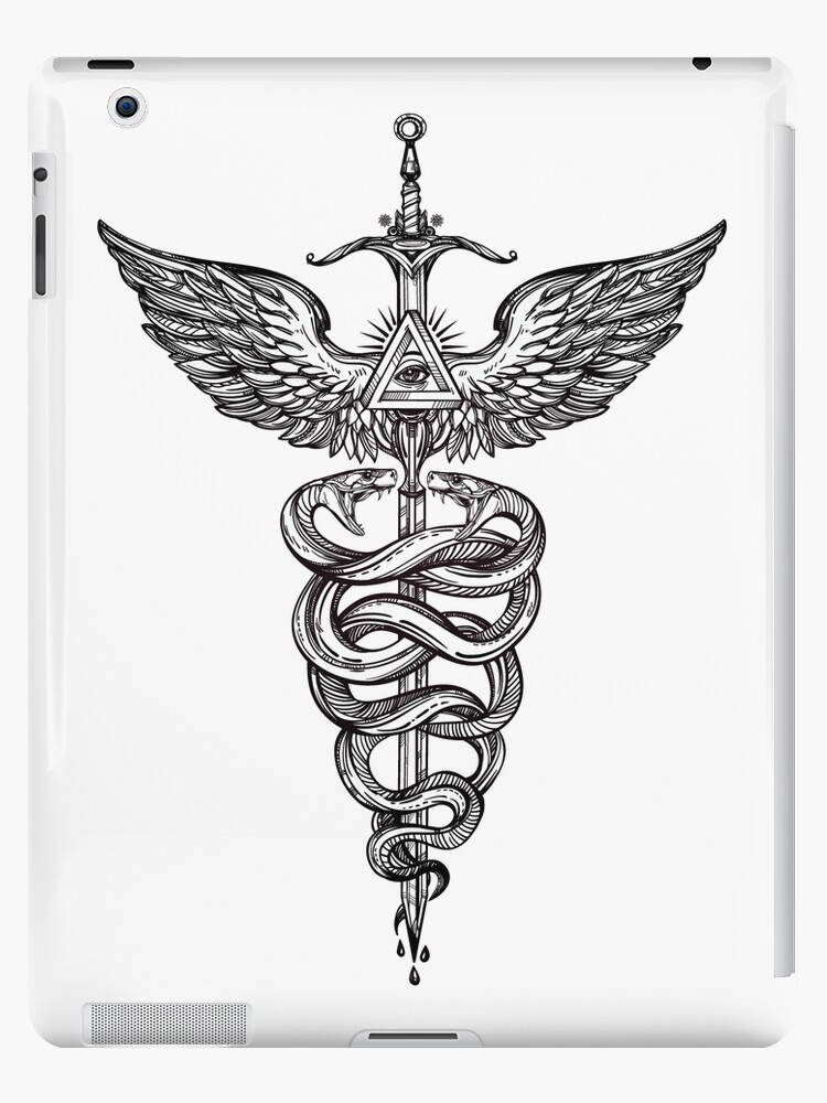 Snakes Winding Around A Winged Sword Caduceus Occult Symbol Ipad