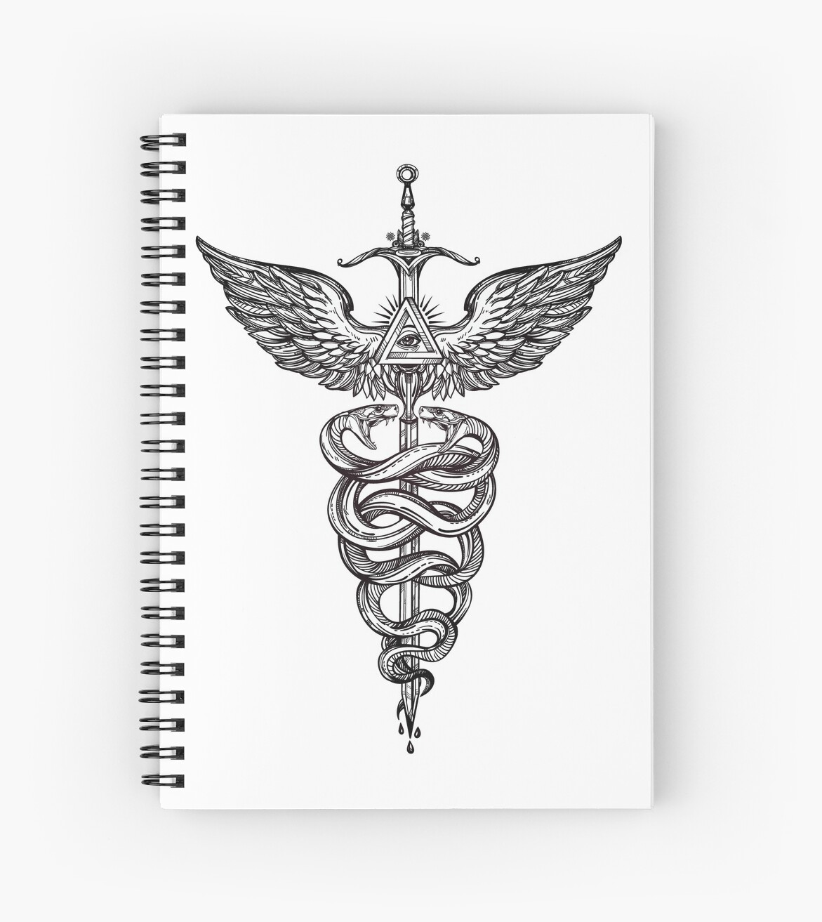 Snakes Winding Around A Winged Sword Caduceus Occult Symbol Spiral