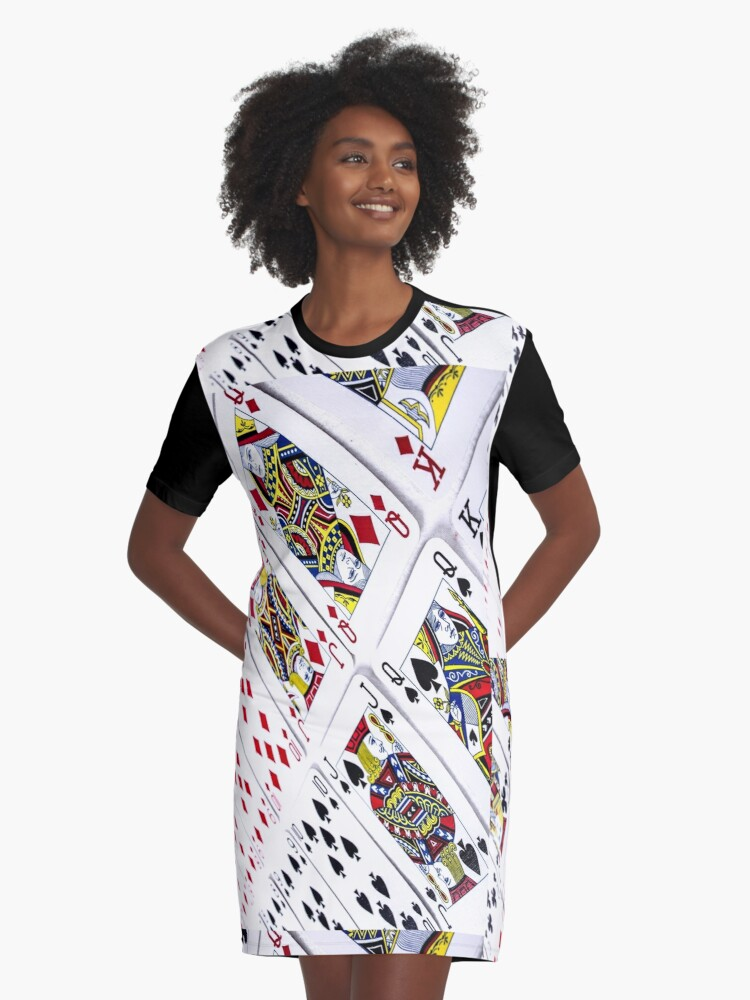 PLAYING CARDS Graphic T-Shirt Dress Front