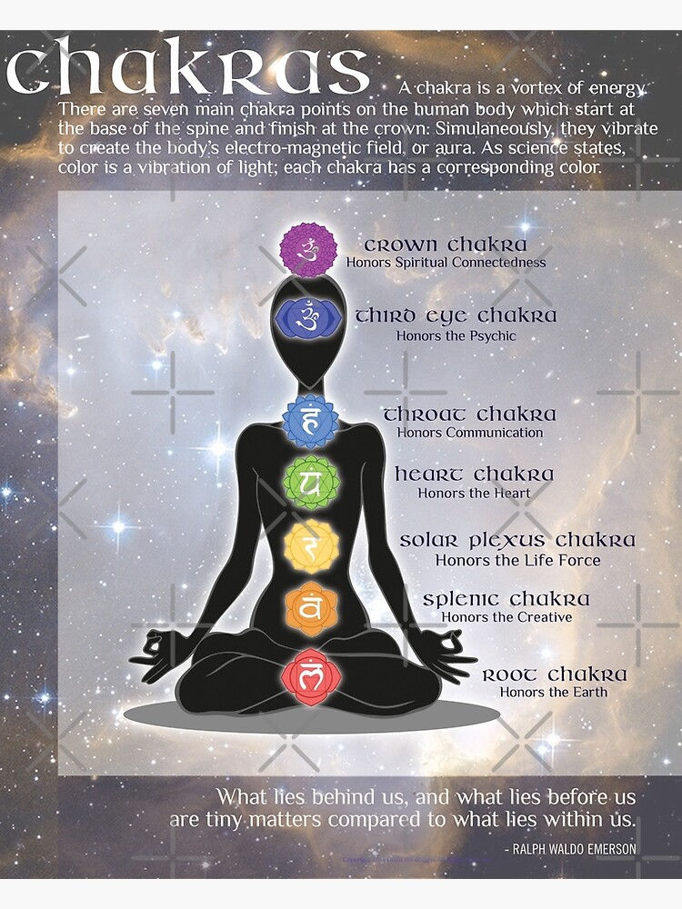 Chakras Meditation Art with Information & Quote | Canvas Print