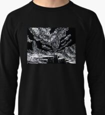 Surreal Trippy Tornado Canyon TWISTER by Vincent Monaco - black and white Lightweight Sweatshirt