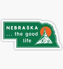 Nebraska - The Good Life (With green background) Sticker