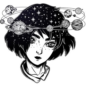 """Halo of Planets"" Outer Space Girl with Head full of Stars and Planets by MagneticMama"