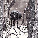 Winter Night Wolf by danibeez