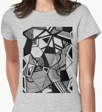 As Worlds Collide #Geometric #New #Polygon #Triangle #Lines #Sketch #Black #White Women's Fitted T-Shirt