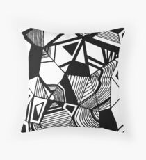 As Worlds Collide #Geometric #New #Polygon #Triangle #Lines #Sketch #Black #White Throw Pillow