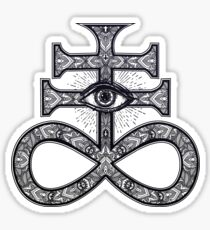 Paisley Satanic Cross with All-Seeing Eye Sticker