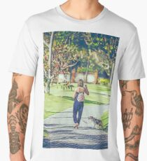 Young woman with her beagle dog in the park of Bali island Men's Premium T-Shirt
