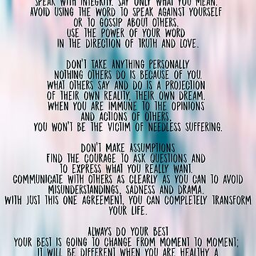 The Four Agreements  Colorful  by andreaanderegg