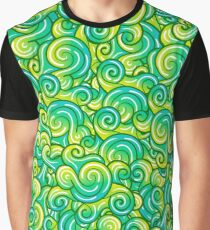 Vector waves decorative doodles seamless pattern colorful Graphic T-Shirt
