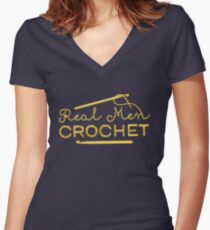 Real Men Crochet Women's Fitted V-Neck T-Shirt
