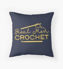 Real Men Crochet Throw Pillow