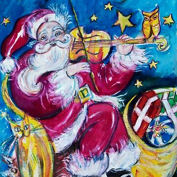 INSPIRED SANTA PLAYING VIOLIN  WITH OWL Christmas Collection by BulganLumini