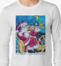 INSPIRED SANTA PLAYING VIOLIN  WITH OWL Christmas Collection T-Shirt