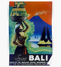 Vintage Bali Travel Poster Poster