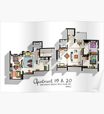 Friends Apartment Layout Poster