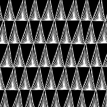 Hand Drawn Geometric Triangle Monochrome Art Deco Pattern by evannave