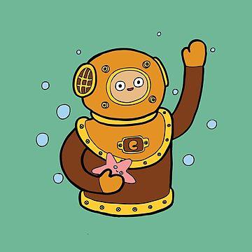 Scuba Deep Sea Taucher Charakter von evannave