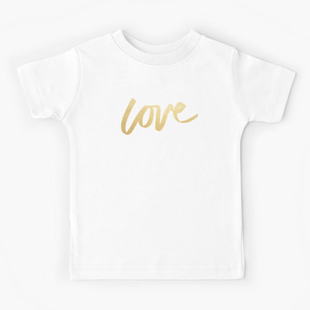 Love Gold Black Typography Kids T-Shirt