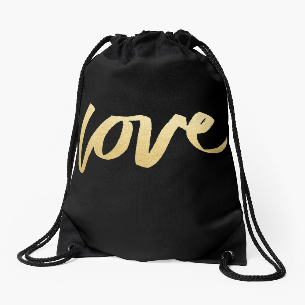 Love Gold Black Typography Drawstring Bag