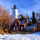 Winter at Presque Isle Lighthouse - Erie, PA by Kathy Weaver