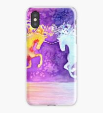 Fire and Ice Unicorn Fight Watercolor Painting iPhone Case