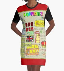 LONDRES : London Travel and Tourism Advertising Print Graphic T-Shirt Dress
