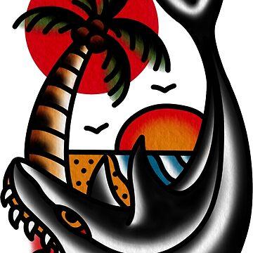 Traditional Shark and Beach Tattoo Piece by radquoteshirts