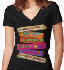 WDW spanish Monorail Women's Fitted V-Neck T-Shirt