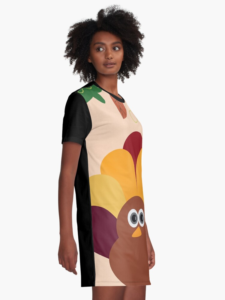 Alternate view of Thanksgiving Turkey Graphic T-Shirt Dress