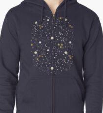 Sudadera con capucha y cremallera Cosmos, luna y estrellas. Patrón astronomico